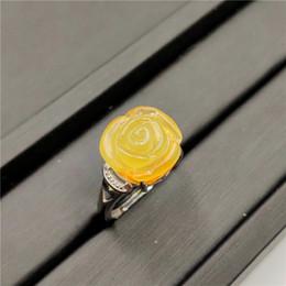 2019 anéis de moda âmbar Natural Amarelo Âmbar Gemstone Ring Flor Forma Ajustável 925 Sterling Silver Para As Mulheres Da Moda Jóias Anel De Noivado De Casamento anéis de moda âmbar barato