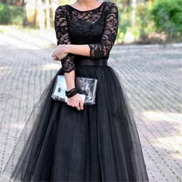 2019 vestido formal de encaje negro casual mangas Vestido de fiesta formal de noche de manga larga para mujer Vestidos de tul de manga ahuecada de encaje Vestido de encaje de fiesta negro para mujer Vestido de encaje rebajas vestido formal de encaje negro casual mangas