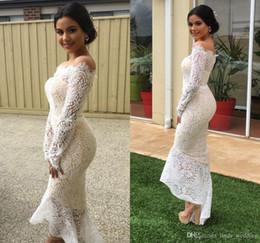 robes de club de sirène Promotion Sexy sirène manches longues robes de cocktail 2019 arabe Dubai Style dentelle formelle club usure robes de bal de bal, plus la taille robe de soirée personnalisée