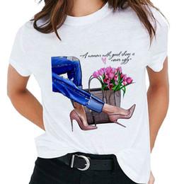 Moda T-shirt stampate con tacchi alti T-shirt Maglieria Abbigliamento nuovo T-shirt estiva Personalità Harajuku Maglietta sezione sottile femminile da