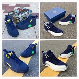 Yeni Basketbol Ayakkabı 12 Uluslararası Japonya Tokyo Michigan Üst Kalite Erkek Koyu Mavi Beyaz Tasarımcı Spor Sneaker nereden tokyo ayakkabıları tedarikçiler