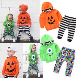 Kinderkleidung pullover online-Babyjungenentwerfer-Kleidungssatz-lange Hülsenjungen-mit Kapuze Pullover + gestreifte volle gedruckte Kleidung der Hosen 2pcs entspricht Kinderjungen-Halloween-Ausstattungen