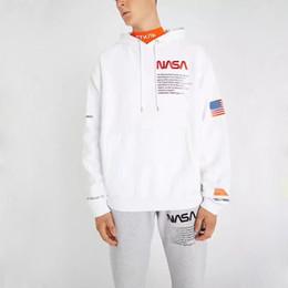 2019 roupas vintage homens brancos pretos 18FW HERON PRESTON NASA Hoodies Do Vintage Preto Branco New Outerwear Moletons Moda Masculina Vestuário Hip Hop Com Capuz Hoodies HFLSWY156 roupas vintage homens brancos pretos barato