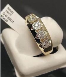 Trauringe Schmuck 14K Gelbgold Mens Diamant Band Tennis Pinky Ring Jubiläumsgeschenk Verlobungshochzeitsringe Schmuckgröße 5-11 von Fabrikanten