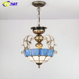 Стеклянные металлические кровати онлайн-FUMAT Euroepan стиль люстра синий свет тени для гостиной Спальня старинные дома деко металл Тиффани стекло светодиодные люстры