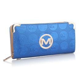 Billetera de dinero de lujo online-Para mujer diseñador de la cartera de la PU de cuero con cremallera cartera bolsos con ranura para tarjetas de lujo embrague bolsa de dinero titular de la tarjeta monedero de bolsillo B61302