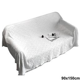 Biancheria bianca solida online-Solid Simple Style Coperta in cotone Tappeto Divano Nappa Quadrato bianco Letto Soggiorno Tappeto Home