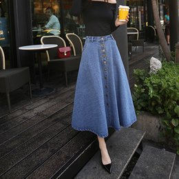 17aacd522 2019 new fashion summer autumn Korean plus size maxi skirt elegant high  waist pleated long women denim skirts