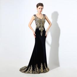Vestido largo de terciopelo negro online-LX027 Vestidos de fiesta largos de terciopelo negro azul marino Apliques con cuentas Sirena transparente Escote en V 2020 Fiesta árabe Mujeres Vestidos de noche formales por encargo