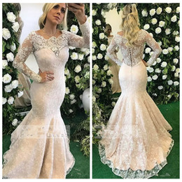 08c2d6b19fd ivory lace maternity maxi dress Coupons - Modest Long Sleeves Lace Slim Mermaid  Evening Dresses 2019