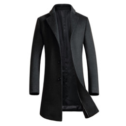 2019 trench pour homme xs 2018 hiver manteau de laine hommes coupe-vent épais manteau de laine mens classique affaires Trench noir, MA525 promotion trench pour homme xs