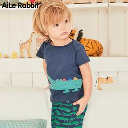 usura del ragazzo americano Sconti Abito per bambini AiLe in stile europeo e americano per bambini a maniche corte vestito per bambini in puro cotone lavorato a maglia cartoon
