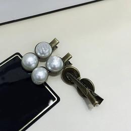 dames ornements de perles Promotion 4X1.5CM Mode C lettre pince à cheveux bronze double perle mignonne petite pression clip côté clip pour dames collection luxe conception cheveux ornements