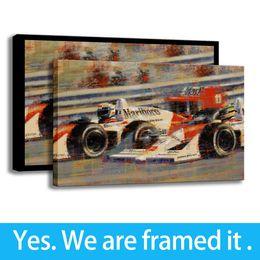 2019 marcos de la pared pinturas al óleo paisaje Pintura de alta definición en el porche, arte de la pared, decoración, coche de carreras en el lienzo para decoración del hogar, ilustraciones de alta calidad, listas para colgar, enmarcadas