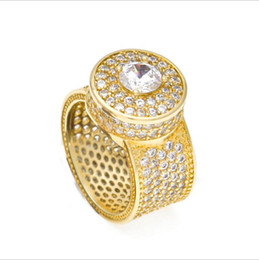 Anelli d'oro di marca online-Hip Hop Mens Gold Ring Iced Out Anelli Micro Pave Cubic Zircone Promessa Diamond Finger Rings Luxury Designer regalo di marca