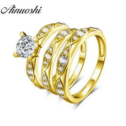 Casal banda anéis de ouro conjunto on-line-AINUOSHI Ouro Real TRIO Anéis 14 K Yellow Gold Couple Anel de Casamento Set Folha Design Banda Amante de Noivado Anéis de Casamento Jóias