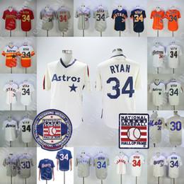 6c7dfa8ec 34 Nolan Ryan Jersey Com Corredor da Fama Remendo Houston Texas New York  Camisolas de Basebol Casa Fora Laranja Cinza Branco Marinho Pulôver