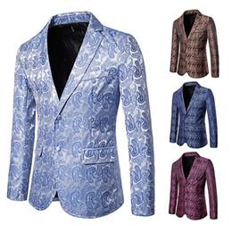 abrigo formal de estilo de los hombres Rebajas 2019 Moda coreana Padrinos de boda Trajes Azul Estilo británico Paisley Impreso Ropa para hombre Moda Cuello en V Hombres formales chaleco casual Slim Brazers Coat