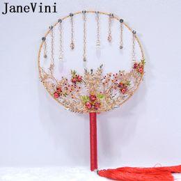 Bouquet cinese online-JaneVini Lussuoso stile cinese da sposa manico in cristallo oro rosso sposa mano fan copertura faccia nappa bouquet di fiori spille