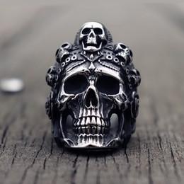 Death punk online-Cool Santa Muerte Death Skull Ring Unique Mens Anillos de acero inoxidable Punk Rock Biker Joyería Regalo para él