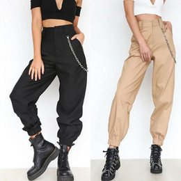 trousers military women Coupons - Loose Women Cool Dance Hip Hop Pants High Waist Cargo Pants Trousers Military Army Combat Hiking Female Fashion Long Pants