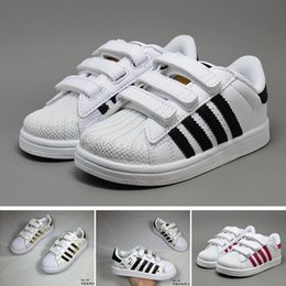 96f7981720f42 bébé superstar Promotion Adidas Superstar Marque Enfants Superstar  chaussures Original Blanc Or bébé enfants Superstars Baskets
