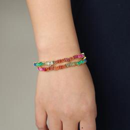Fancy cz онлайн-New Rainbow bangles Irregular deisgn bracelets fashion square rainbow cz rhinestone bar Charm bangles women fancy gifts 56-58mm