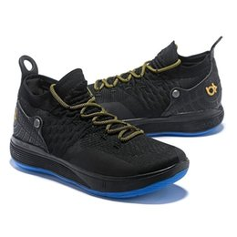 Kevin durant chaussures noir vert en Ligne-Date Kd 11 Hommes Chaussures De Basketball Kevin Durant 11s Bottes De Basket-ball Blanc Or Noir Vert Top Qualité Sport Sneakers Taille Us7-12