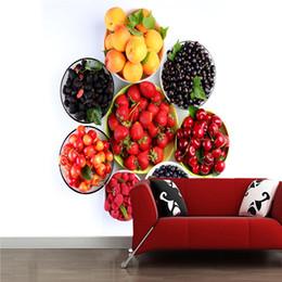 2020 fondo de pantalla de frutas Papel tapiz 3D personalizado, fruta fresa cereza blackberry para cocina restaurante fondo decorativo papel tapiz impermeable fondo de pantalla de frutas baratos