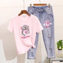 женские шорты джинсовые топы Скидка Women Spring Summer Diamond Sequin Cartoon Pig Short Sleeve Cotton T-shirt Holes Jeans Suit Ladies Tops Denim Pants 2 Piece Set