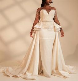 langer satinrock Rabatt Lange Ärmel Plus Size Mermaid Brautkleider mit Overskirt Perlen wulstiger Illusion Afrikanische 2019 Brautkleider Customized Vestidos
