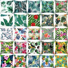 cuscini tropicali Sconti 40 Stili Piante tropicali frutta Cuscino Coprire la decorazione della casa Federa Nordic Green cuscino cuscino del divano 4897