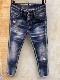 Moda homens ponto jeans on-line-versão coreana de 2019 homens da versão maré de moda boa do velho complexo pintura ponto de lavagem de moagem brancas pequeno buraco micro-elástica calças de brim
