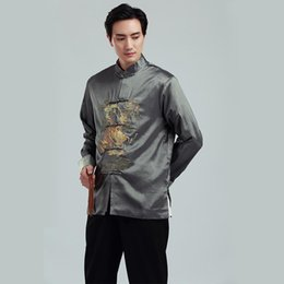 Традиционная китайская одежда онлайн-2019 New Long Sleeve Tang suit Chinese Traditional dragon printed Jacket chinese  clothing mandarin collar Jacket Men