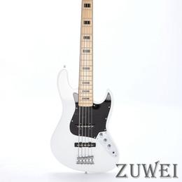 Elétrico, jazz, baixo, corda on-line-Guitarra Elétrica Jazz Bass 5 Cordas Cor Branca de Alta Qualidade Basswood Corpo Maple Cabeça Parafuso em