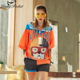Cane arancione t-shirt online-Donna Estate New Orange T-Shirt Moda femminile con cappuccio Casual manica corta Street Style Lettera stampa cane Plus Size Tops Z1021