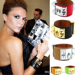 Rivets for leather bracelet on-line-Hot sale Wide Quatro rebites pulseiras de couro para as mulheres e homens H Marca de Prata CDC Do Punk largura 3.8 cm Pulsera pulseira de luxo jóias finas