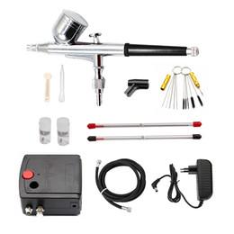 2019 kits de compressor airbrush Mini Dupla Ação Airbrush Compressor Set Para Nails Kit Modeller Spray Airbrush Gun Decoração Do Bolo com 0.2 0.5mm nozzle kits de compressor airbrush barato