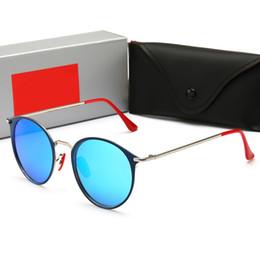 Avvolgere occhiali da sole online-RayBan RB3602 Occhiali da sole di alta qualità per uomo Donna Wrap in metallo Occhiali da sole Tondi sfumati Designer di marca Occhiali da sole Specchio UV400