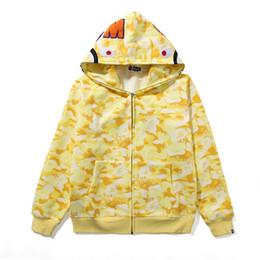 2019 casaco amarelo Atacado mais novo Homens Mulheres Blue Red Camo além de veludo Esporte Hip Hop Jacket Sweater amante amarelo rosa azul de Camo com capuz Hoodies casaco amarelo barato