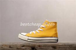 детская обувь из желтого холста Скидка Новые желтые кроссовки 70-х годов HI Big Kids повседневная обувь Все повседневная обувь из плотной ткани 1970-х годов Спортивные кроссовки Star Boys Girls Дизайнерские кроссовки Размер 34