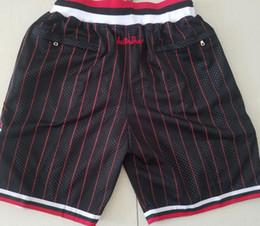 2019 красная белая черная одежда Новые шорты Командные шорты 97-98 Винтажные шорты для бейсбола Молния Карман для бега Одежда Черная полоса Белый Красный Just Done Размер S-XXL