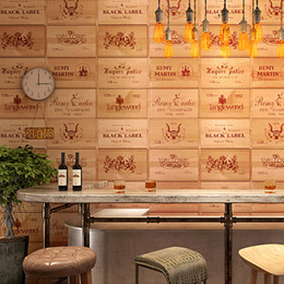 2019 papel de parede imitação de madeira Personalidade 3D adega papel de parede retro Chinês clássico imitação de madeira em grão de madeira papel de parede estéreo bar restaurante fundo papel de parede imitação de madeira barato