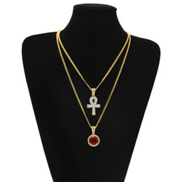 white gold cross necklace set Coupons - Egyptian Ankh Key Of Life Bling Iced Rhinestone Cross Pendant With Rhinestone Pendant Necklace Set Men Fashion Hip Hop Jewelry Wholesale