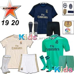 yellow football socks Coupons - HAZARD 2019 2020 Real Madrid soccer jersey KIDS kits socks 19 20 Football shirt Asensio SERGIO MODRIC RAMOS BALE ISCO child Soccer Sets
