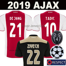 Jerseys de fútbol para hombres online-18 19 camiseta de fútbol AJAX FC DE JONG TADIC DE LIGT ZIYECH VAN BEEK NERES DOLBERG MEN KIDS HOMBRES NIÑOS soccer jersey top calidad de Tailandia 2019 Netherland champions kit