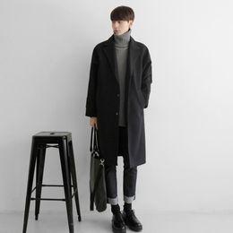 jaket lungo cappotto Sconti Mens degli uomini di lana soprabito maschio coreano facile goccia spalla inserto girocollo polsino giacca a vento lungo cappotto invernale uomini jaket