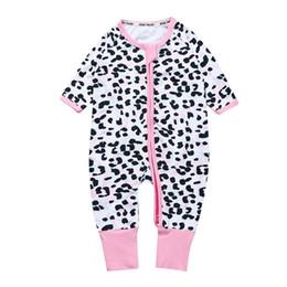 Mono leopardo niños online-Niñas bebés mamelucos Monos traje traje de dormir INS Leopardo Impreso manga larga con cremallera Pantalones largos Mono Ropa para niños X30