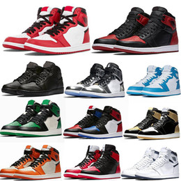2019 tecido de fibra de carbono azul Nike air jordan 1 shoes Basketball Shoes Tênis De Basquete Atletismo Sneakers Tênis De Corrida Para As Mulheres Esportes Tocha Lebre Verde Sem Caixa Eur 36-46