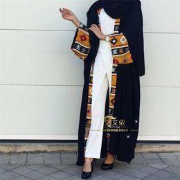Ropa islámica abaya online-Musulmán Abaya Vestido estampado Vestido largo Vestidos de bata Kimono Jubah Ramadán Oriente Medio Servicio de adoración de Thobe Oración islámica Ropa